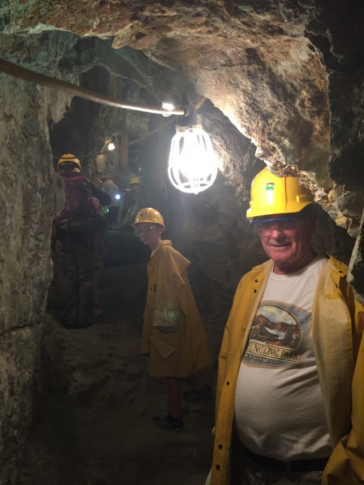 Author and grandson deep in Hidee Mine