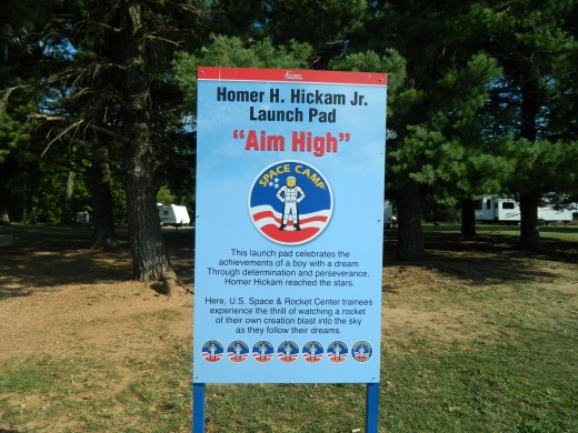 Sign honoring Homer Hickam at Space Camp