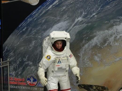 Caleb as an astronaut