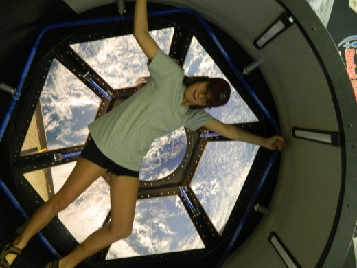Bailey in the window of the Space Station