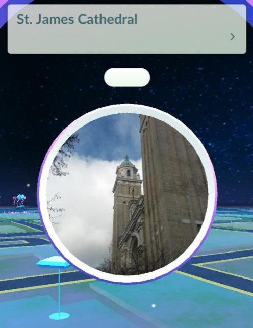 "A ""Poke Stop"" at St James Cathederal in Edmonds, Wa."