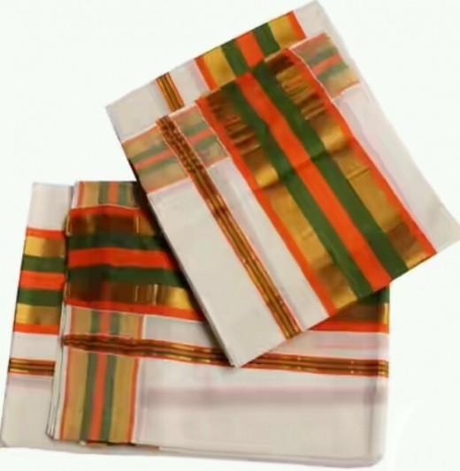 Mndum neriyathum with intermittent stripes of orange, green and golden shades
