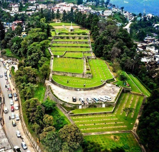 Ariel view of Kohima War Cemetery Dedicated to the 10,000 Allied soldiers who lost their lives during the Japanese invasion during the World War 2, this War Cemetery is still maintained by the Common Wealth Graves Commission.