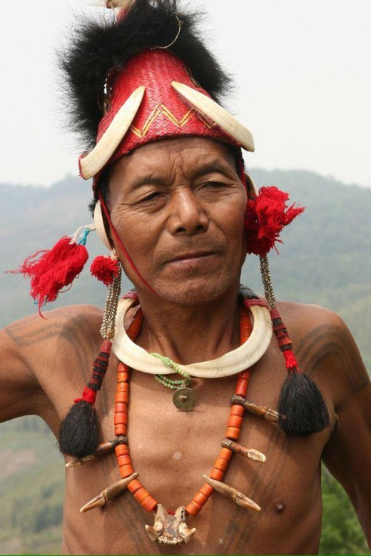 Portrait of a Konyak tribesman hunter in Nagaland