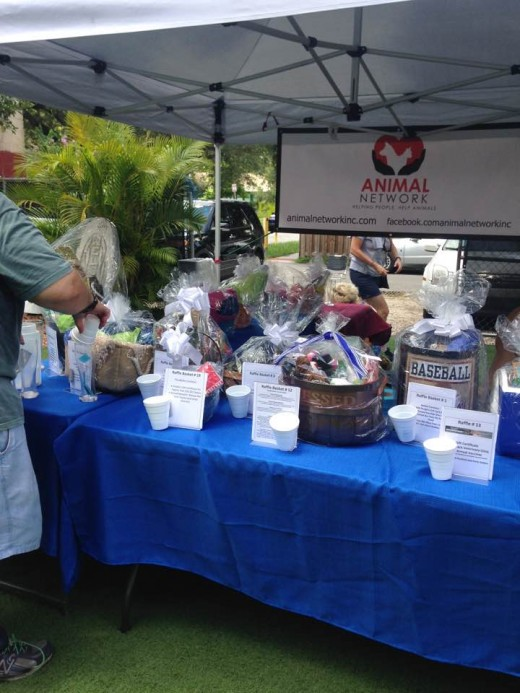 "Gift baskets are provided each month for raffles at ""Yappy Hour"""