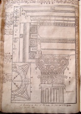 Inigo Jones's annotations on the Corinthian order in Book I of Andrea Palladio, I Quattro libri dell'architettura (Venice, 1601)