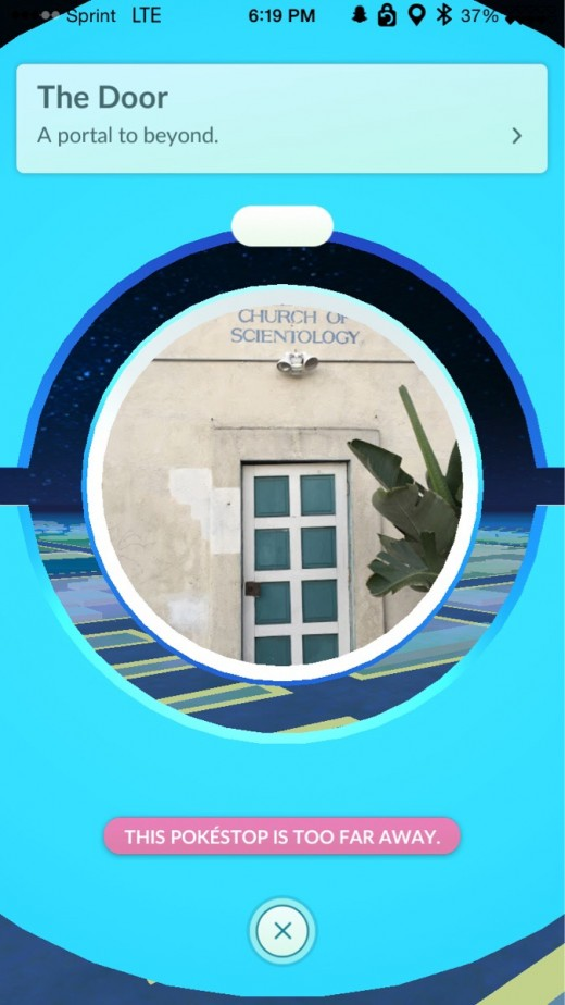 "The door to this church of Scientology is a Pokestop with the description of ""Portal to beyond"" giving many players the sense that Niantic and Pokemon Go is trolling the community."