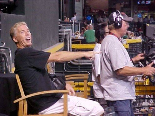 Not really working nor telling Gary from ESPN how to do his job but I DID have to convince him into letting me into an area usually restricted from the general public at Chase Field in Phoenix.