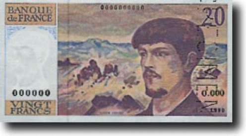 Claude Debussy on French banknote Banque de France (banknote), Monnaie de Paris (banknote), European Central Bank (photograph)