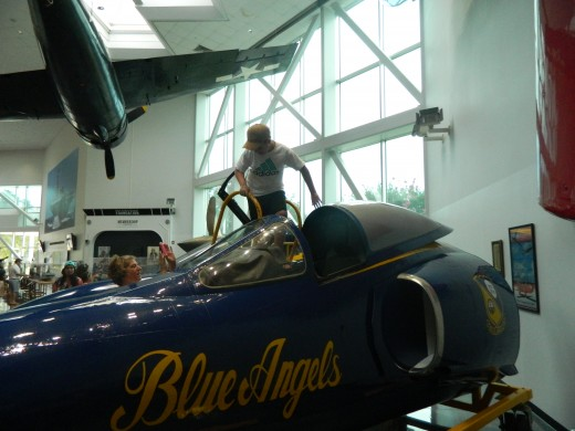 Caleb entering the F-11 Blue Angel mock up