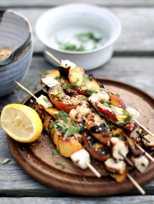 Peaches, Halloumi cheese skewers