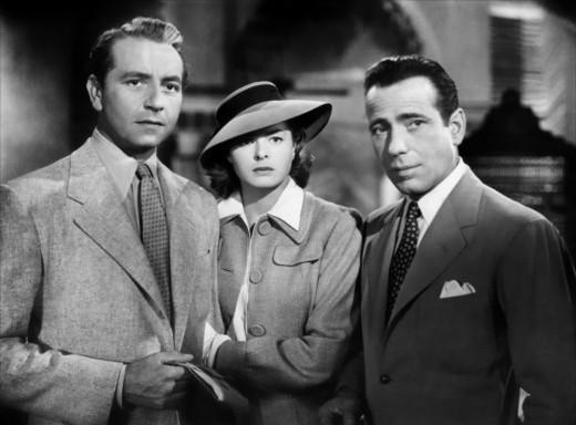 Victor Laszlo, Ilsa Lund & Rick Blaine in Casablanca