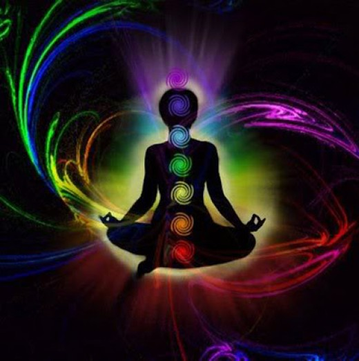 Chakra's. Each chakra represents a different color in the spectrum of light.