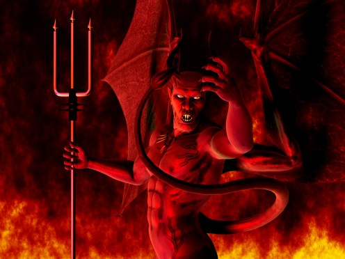 Common portrayal of Satan as a red winged and horned demon.