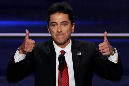 Joanie Loves Chachi star Scott Baio lends his support to his pal Donald Trump with two thumbs up.