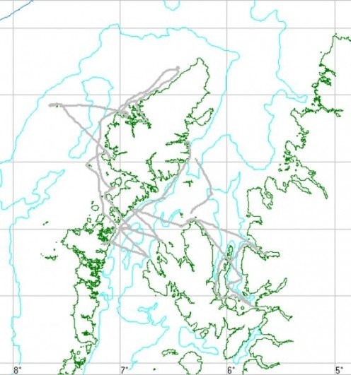 Our trip route. On the right is mainland Scotland, top left is the Isle of Lewis. To the far left is the Flannan isles with the lighthouse - quite remote!