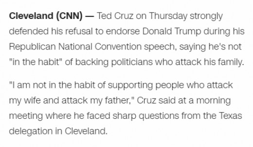 Both Rubio and Cruz were attacked by Trump in the primaries of this election. Apparently only Cruz took a stand against the verbal attacks of his family in regards to an endorsement for Donald Trump.