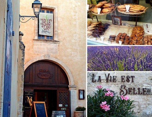 Clockwise from left: House of truffle and wine; a bakery; lavenders in bloom; Life is Beautiful.