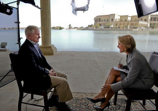 Katie Couric prepares to interview Secretary of Defense, Robert Gates