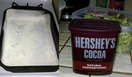 (Left) Cake pan, greased and floured;  (Right) A box of Hershey's powdered cocoa.