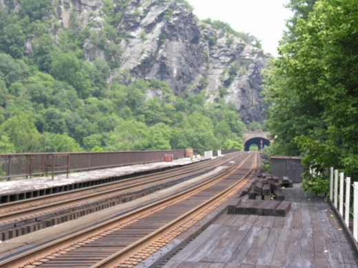 The view from the train station at Harpers Ferry.