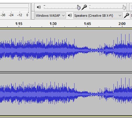 Audio Wave Diagram sample in the Audacity Audio Editing Programme.