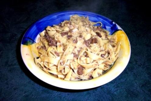 Mushroom goulash in bowl.