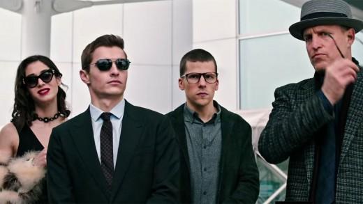 Lizzy Caplan, Dave Franco, Jesse Eisenberg & Woody Harrelson in secret locker break-in disguise.