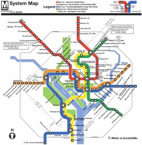 Washington DC Metro Subway Map from WMATA