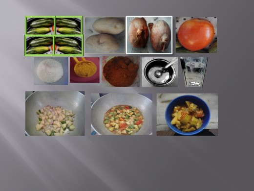 Ingredients placed with the prepared curry