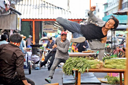 Tiger performing his own stunts in a fight sequence in Bangkok.