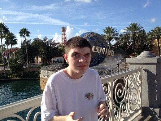 Alex Christmas Day at Universal Orlando Resort. He has emerald green eyes so it was a bit bright for my light eyed son.