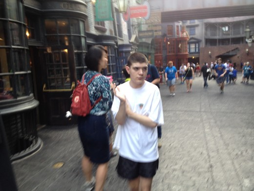 Alex not only took the ferry to Park but ran to the ride Escape from Gringotts.  It was a sweltering 90 degrees but Alex did not care except he was perspiring.