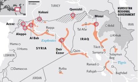 Area where IS have their caliphate but are losing ground to enemy forces now.