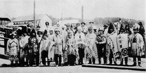 Squamish, Coast Salish, leaders on North Vancouver dock in 1906.