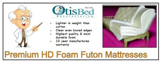 Premium HD foam futon mattresses are lighter, last longer and have a clean boxed edge.