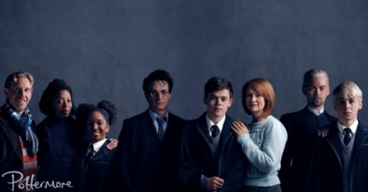 Thornley, Dumezweni, Skeete, Parker, Clemmett, Miller, Alex Price (Draco), and Anthony Boyle (Scorpious)