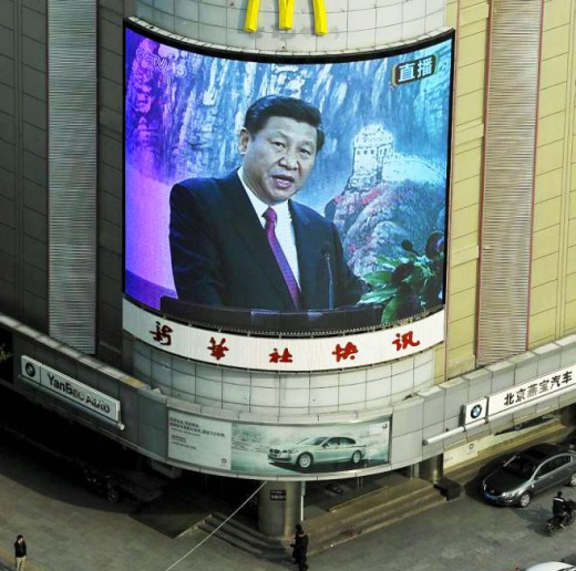 President of China and leader of the Communist Party Xi Jinping broadcasting to his nation.