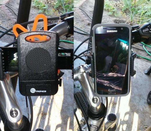 My son's Taotronics TT-SH013 cell phone bike mount. Left: Bike Mount without phone; Right: Bike mount with cell phone.