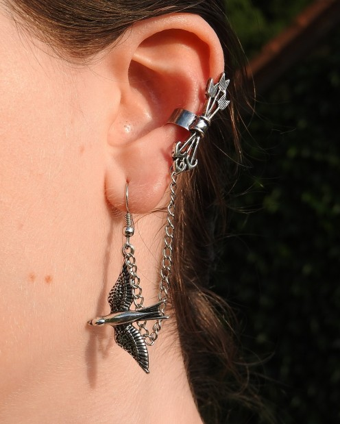 Quiver of arrows and lovebird pierced earring.