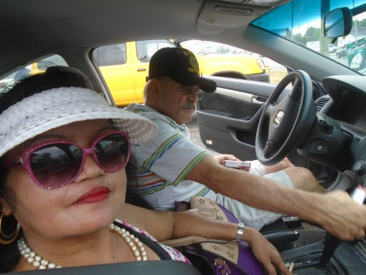 Hubby driving our car when he toured me in the countryside of Marion Indiana