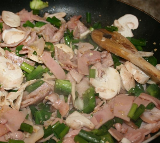 Delicious Mushrooms, Bacon And Green Peppers.