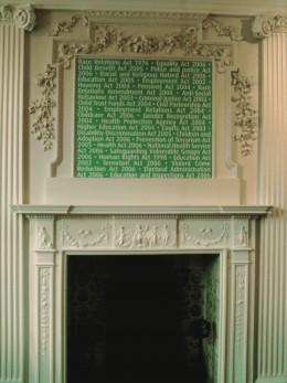 Modern anti-slavery display over beautiful old fireplace