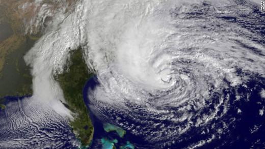 Hurricane sandy as she barrels down the Eastern Seaboard