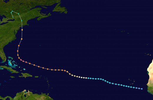 The best-track data for the 1938 Long Island Hurricane