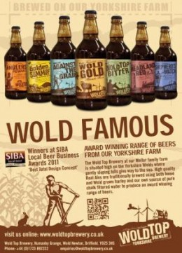 Something to wash it down with? Here's a range of ales from the Wolds Brewery - as it says, 'Wold Famous', from golden to deep amber and porter