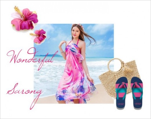 Feminine Sarong In Pink And Blue