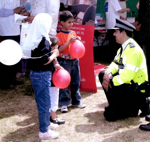 The author on patrol at Slough Vaisakhi celebrations