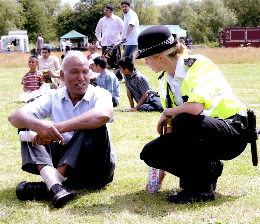 Thames Valley Police Officers engaging with the local community in Slough
