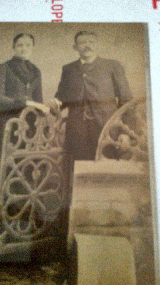 Mr. and Mrs. Henry Schmidt  at an unknown date.  Picture taken in Manistique, Michigan